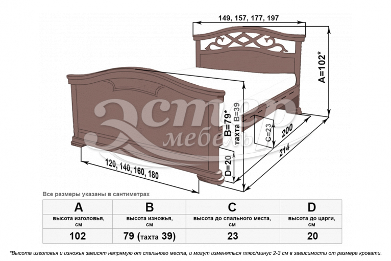 Кровать Гориция из массива дуба