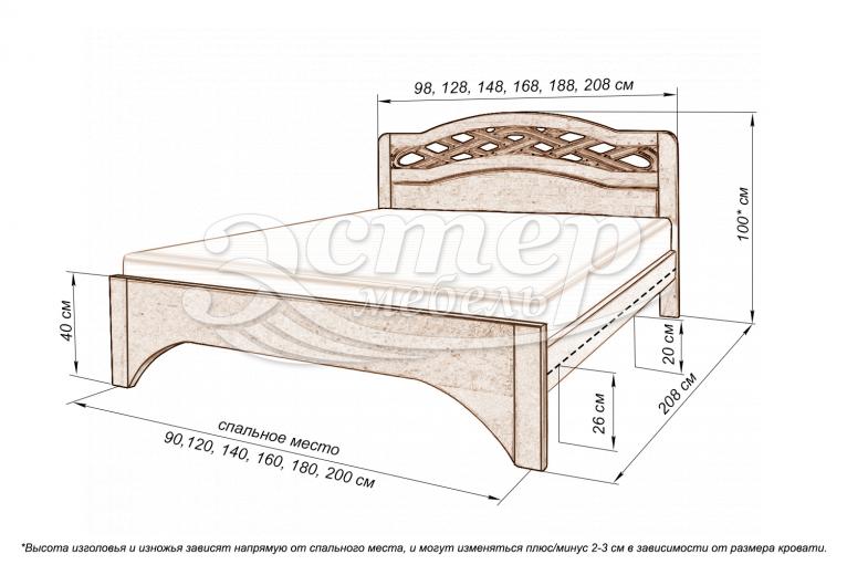 Кровать Винница из массива сосны (белая эмаль с золотой патиной, резьба береза)