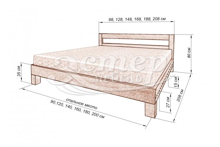 Кровать Турин из массива сосны