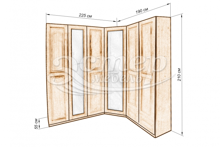 Шкаф Кантата угловой с двумя зеркалами из массива березы