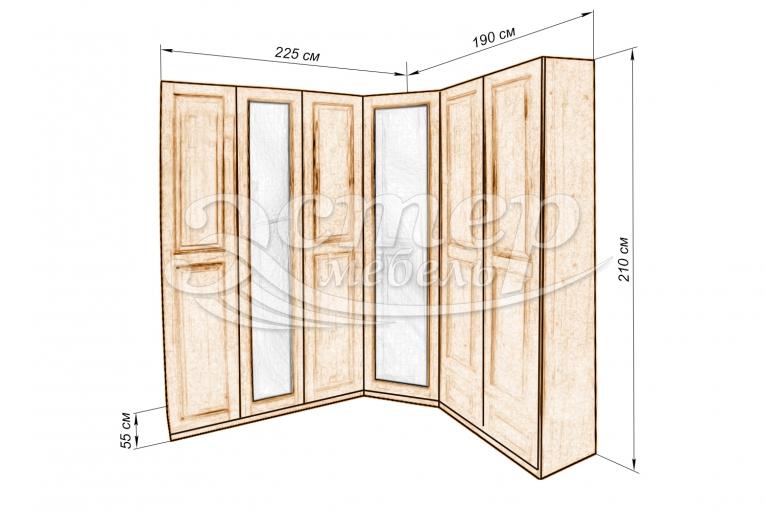 Шкаф Кантата угловой с двумя зеркалами из массива дуба
