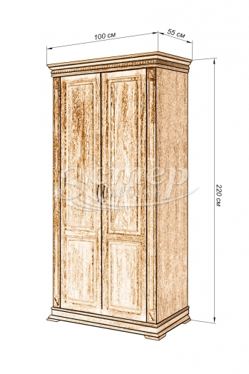 Шкаф 2-х створчатый Флоренция-2 из массива бука