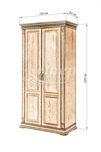 Шкаф 2-х створчатый Флоренция-1 (полка, штанга) из массива бука