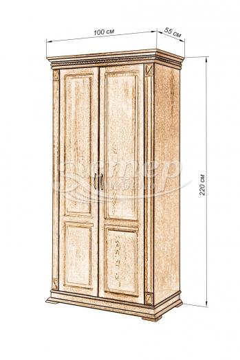 Шкаф 2-х створчатый Флоренция-1 из массива сосны (белая эмаль)