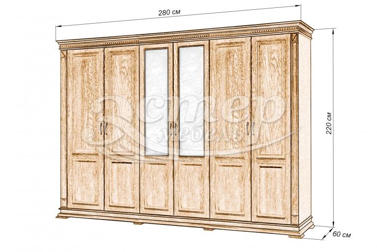 Шкаф 6-ти створчатый Флоренция из массива дуба