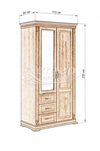 Шкаф для одежды Флоренция-3 из массива дуба