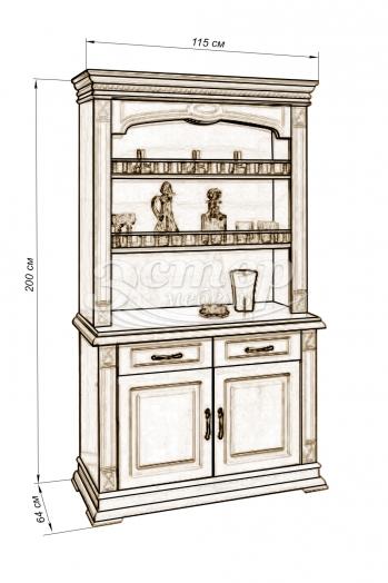 Шкаф комбинированный Флоренция из массива дуба