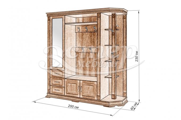 Шкаф для прихожей Флоренция-1 из массива дуба