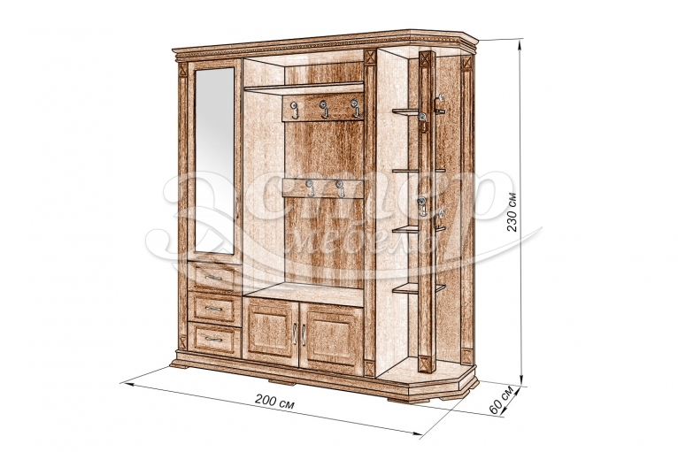 Шкаф для прихожей Флоренция-1 из массива сосны