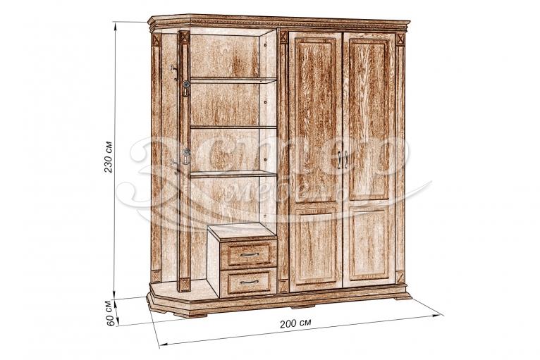 Шкаф для прихожей Флоренция-2 из массива дуба