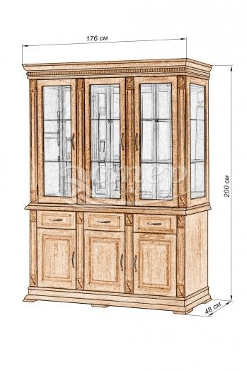 Шкаф тройной Флоренция-1 из массива дуба