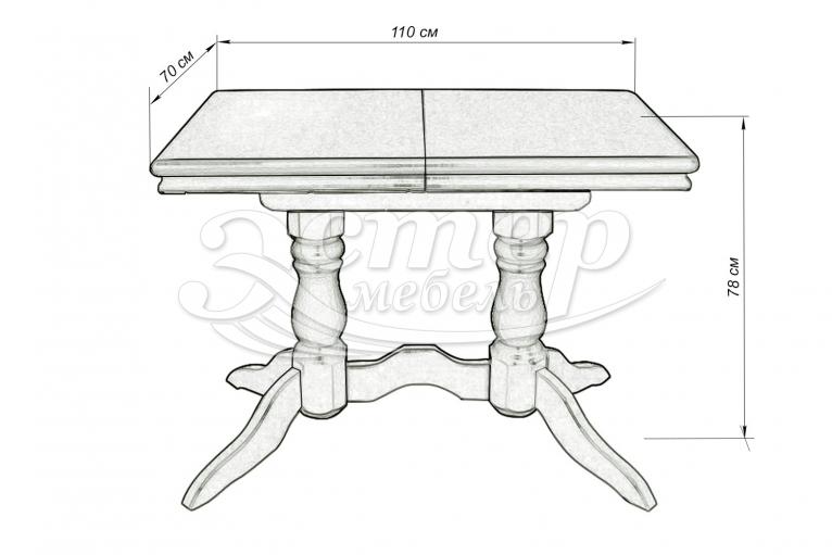 Стол 2 ноги прямоугольный эмаль, с обкладом из массива бука