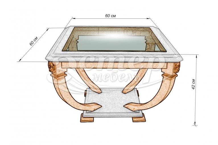 Стол Лев-1 со стеклом из массива дуба