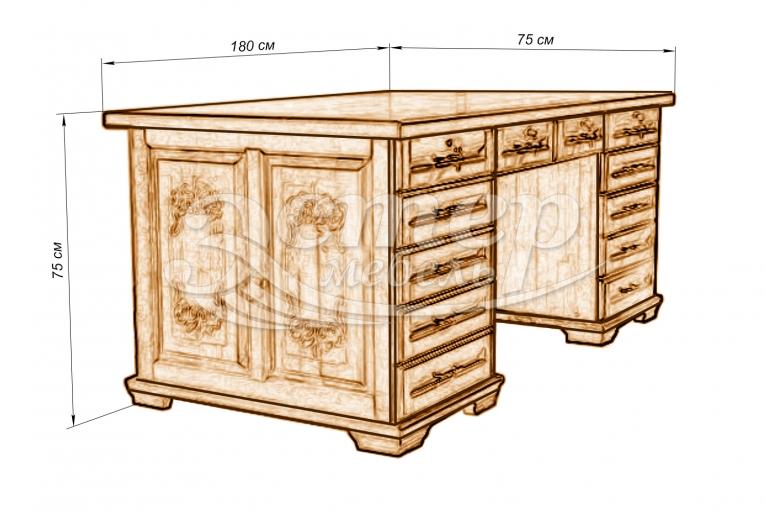 Стол письменный двухтумбовый из массива сосны