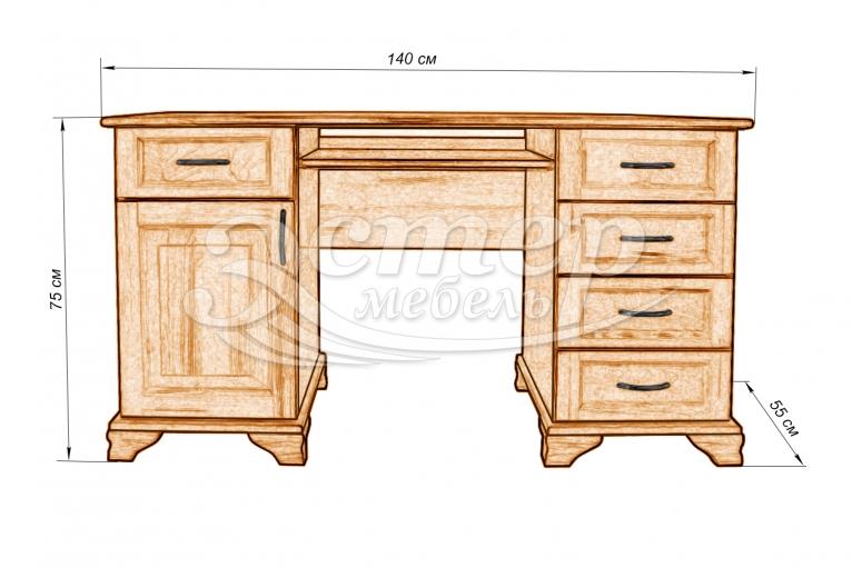 Стол письменный Муромец из массива дуба