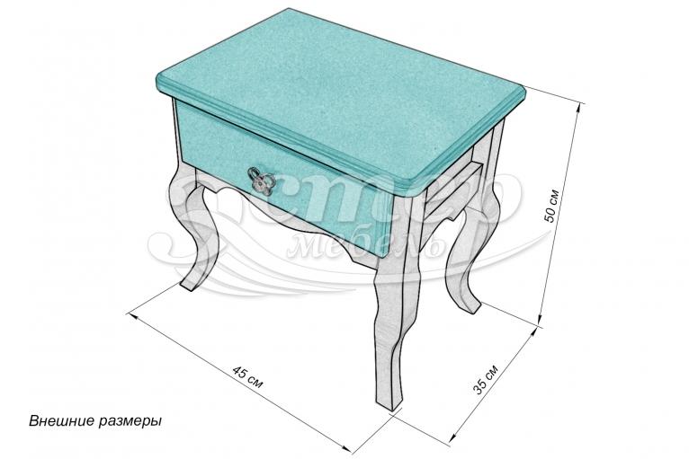 Тумба Прованс Ниас из массива сосны (белая эмаль + бирюзовая эмаль RAL 5018)