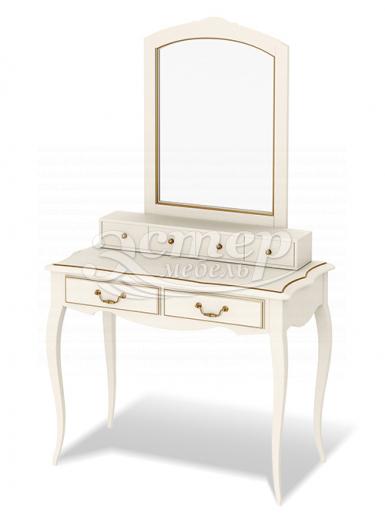 Дамский столик Прованс с надстройкой и зеркалом из массива сосны