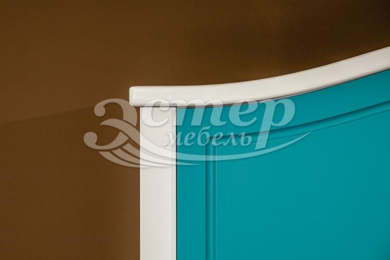 Шкаф Прованс Ниас из массива сосны (белая эмаль + бирюзовая эмаль RAL 5018)