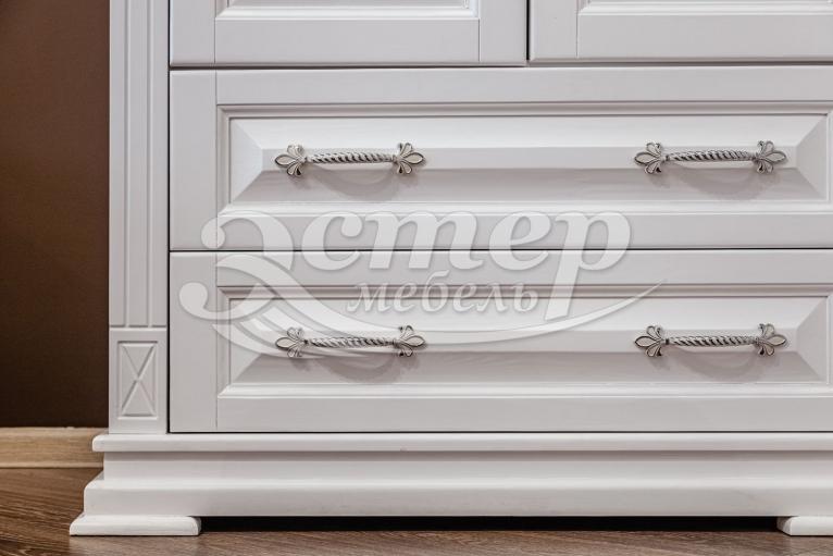 Шкаф угловой Флоренция из массива сосны (белая эмаль)