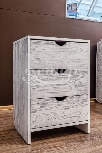 Тумба Икеа 3 ящика из массива сосны (белая эмаль с чёрной патиной)