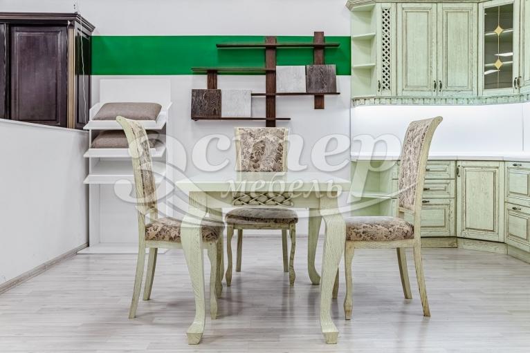 Кухонный стол Лотос из массива сосны (фисташка с коричневой патиной)