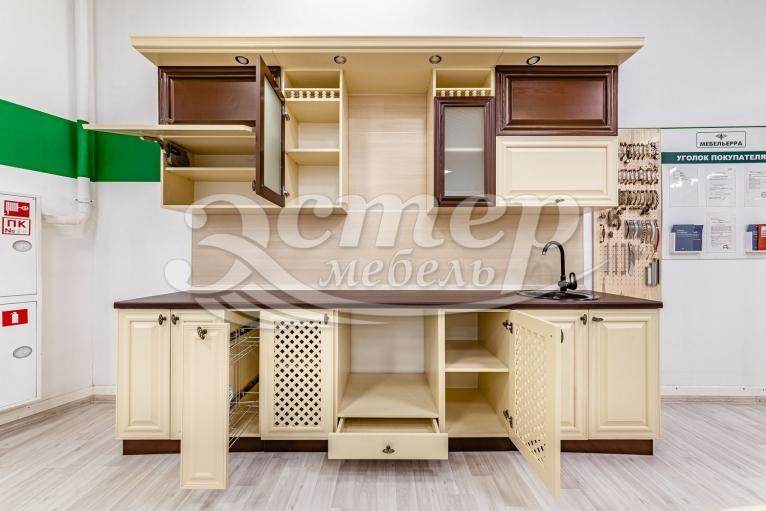 Кухня Валерия из массива сосны (слоновая кость + коричневая эмаль)