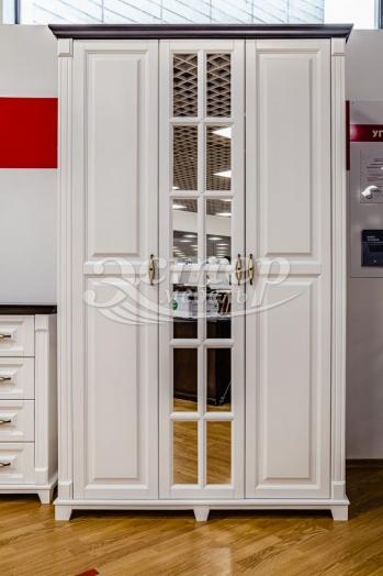 Шкаф Прованс Нойс из массива сосны (белая эмаль + Венге 3)