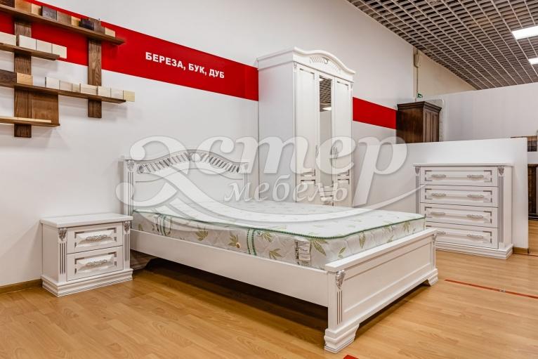 Кровать Флавия из массива сосны (белая эмаль с серебряной патиной)