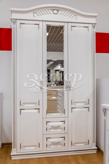 Шкаф Оливия Люкс из массива сосны (белая эмаль с серебряной патиной)