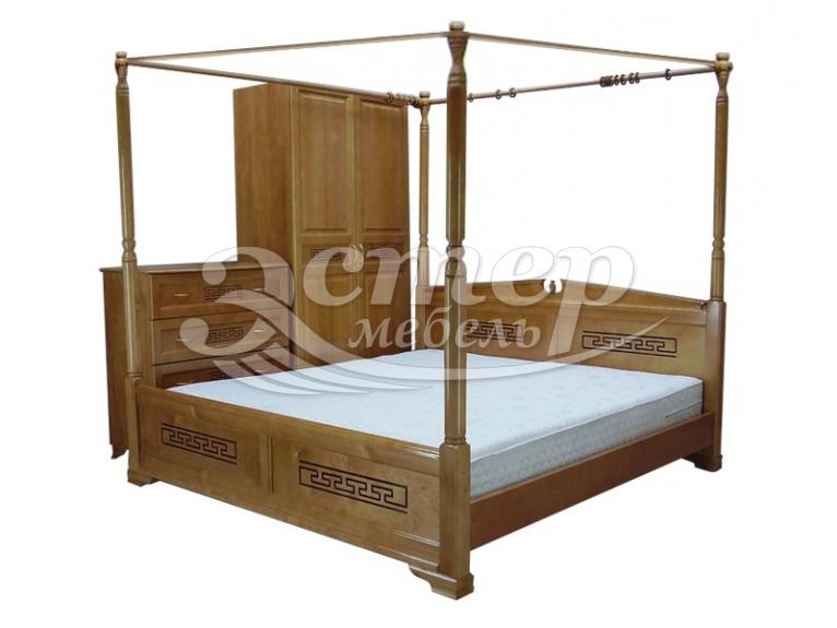Кровать Женева с балдахином из массива дуба