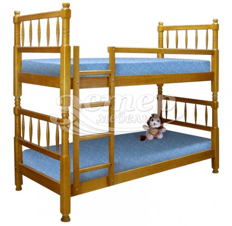Кровать двухъярусная Фолс из массива бука