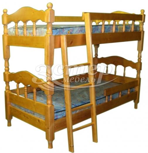 Кровать двухъярусная точеная Джуно из массива дуба