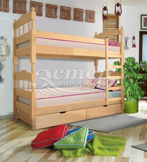 Кровать двухъярусная точеная Джуно из массива березы