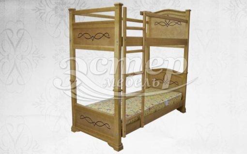 Кровать двухъярусная Салермо из массива дуба