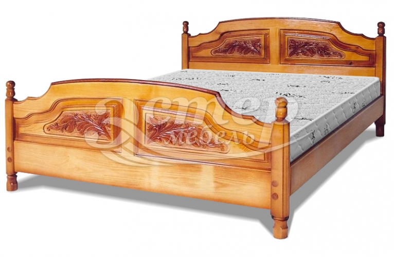 Кровать Филенка Колорадо (резьбы 4-х филенчетая) из массива бука