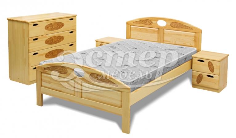 Кровать Оливер из массива сосны (резьба береза)