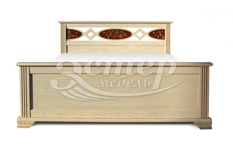 Кровать Лойс из массива сосны (резьба береза)