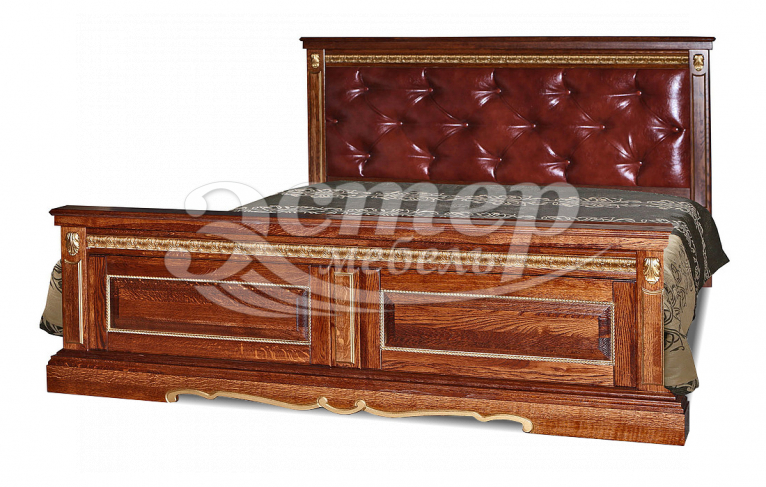 Кровать Милано с каретной стяжкой из массива сосны