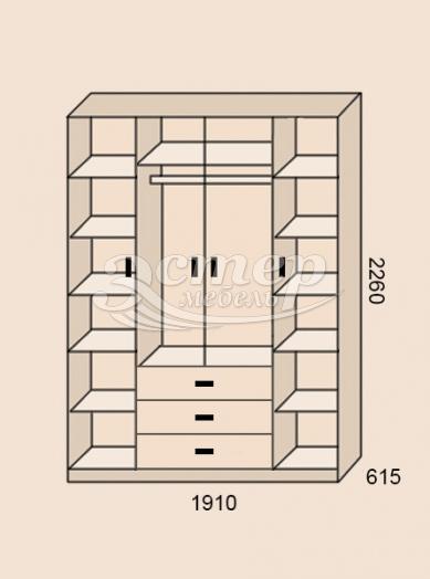 Шкаф 4-створчатый из серии