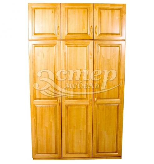 Шкаф Визит 3-х ств. с антресолью из массива сосны