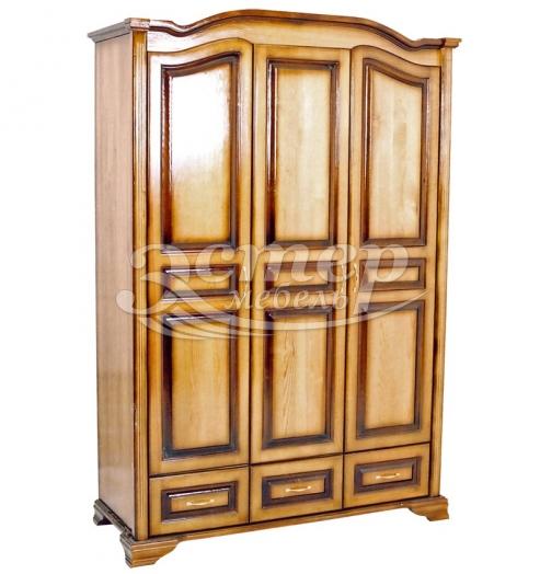 Шкаф Визит 3-х ств. с нижними ящиками из массива сосны