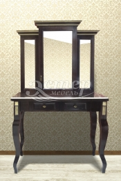 Дамский столик Риволи из массива сосны (резьба береза)