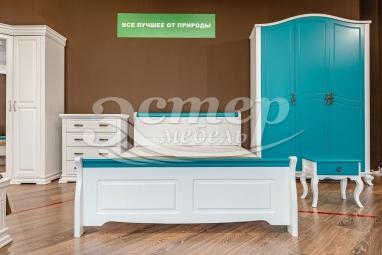Кровать Прованс Ниас из массива сосны (белая эмаль + бирюзовая эмаль RAL 5018) с подъемным механизмом