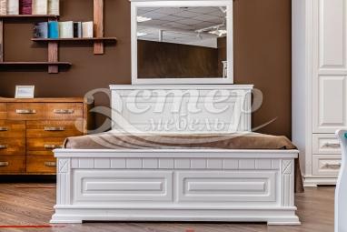 Кровать Верди из массива сосны (белая эмаль) с подъемным механизмом