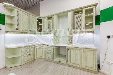 Кухня Милена из массива сосны (фисташка с коричневой патиной)