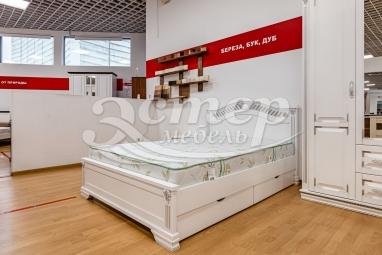 Кровать Флавия из массива сосны (белая эмаль с серебряной патиной) с подъемным механизмом