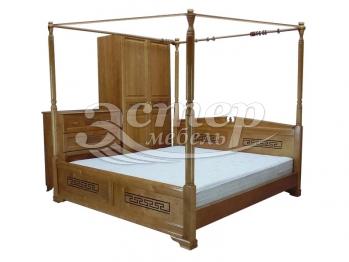 Кровать Женева с балдахином из массива березы с подъемным механизмом