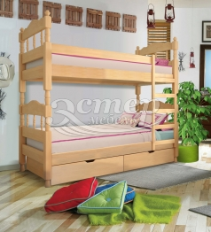 Кровать двухъярусная точеная Джуно из массива бука