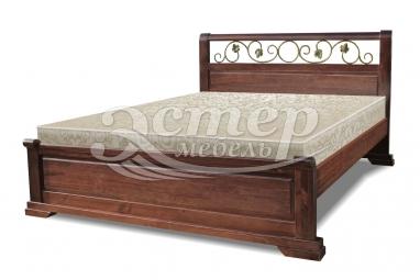 Кровать Луиза (ковка) из массива сосны с подъемным механизмом