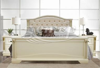 Кровать Хелена с мягкой спинкой из массива сосны